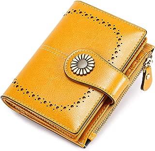 Womens Wallet Small Bifold RFID Blocking Leather Wallet Vintage Zipper Short Card Holder Purse Elegant Clutch