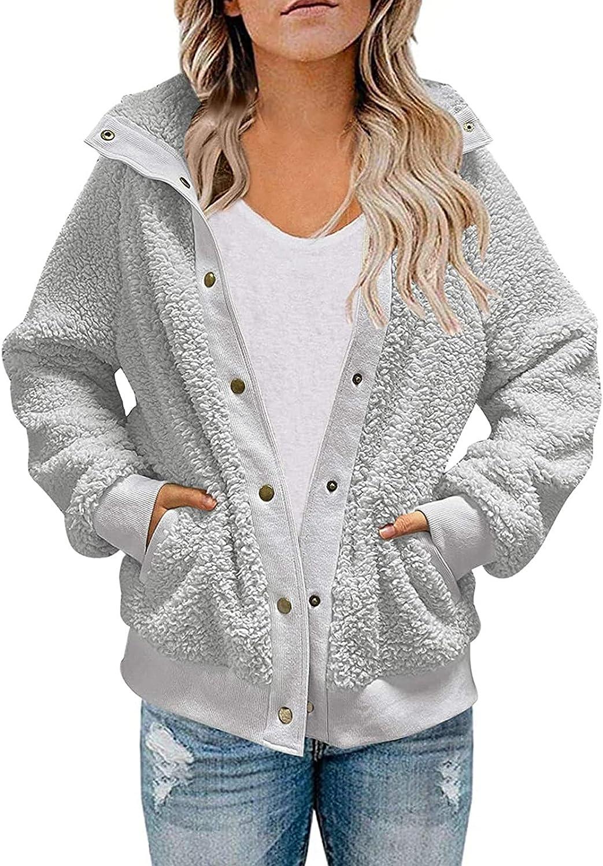 Winter Womens Fleece Cardigans Open Front Sherpa Coat with Pockets Outerwear Loose