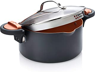 Gotham Steel Pasta Pot with Patented Built in Strainer with Twist N Lock Handles, Nonstick Ti- Cerama Copper Coating by Chef Daniel Green 5 Quart