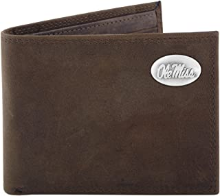 NCAA Mississippi Old Miss Rebels Zep-Pro Crazyhorse Leather Bifold Concho Wallet, Light Brown