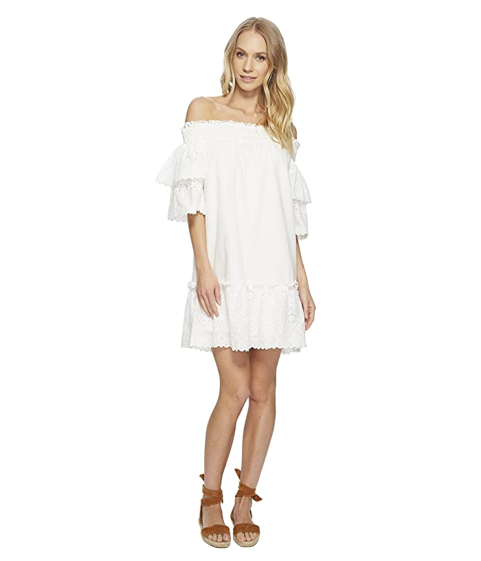 J.O.A. Off the Shoulder Eyelet Lace Dress (White Eyelet) Women