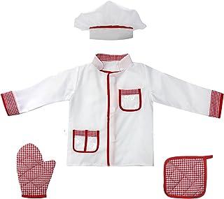 مجموعة أزياء الشيف للأطفال 4 قطع للأطفال من عمر 2-4 قطع من Fedio (نسيج قطني أحمر)