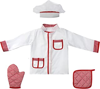 fedio 4Pcs Kids Chef Role Play Costume Set Chef Dress up Set for Children(Ages 2-4)