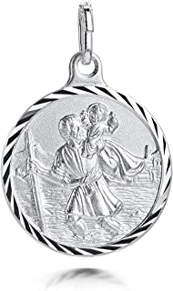 Amberta 925 Sterling Silver - - Pendant with St Christopher Engraving - Protection Medallion for Men and Women - Coin for ...