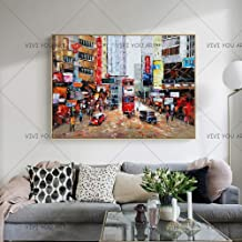 SANSNMI High Quality Impression Street Oil Painting On Canvas 100% Hand Painted Walking In Street Canvas Oil Painting,70x1...