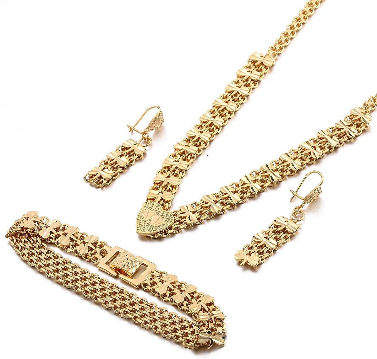 Dubai Bracelet Necklace Earring Double Heart Design Gold Jewelry Set