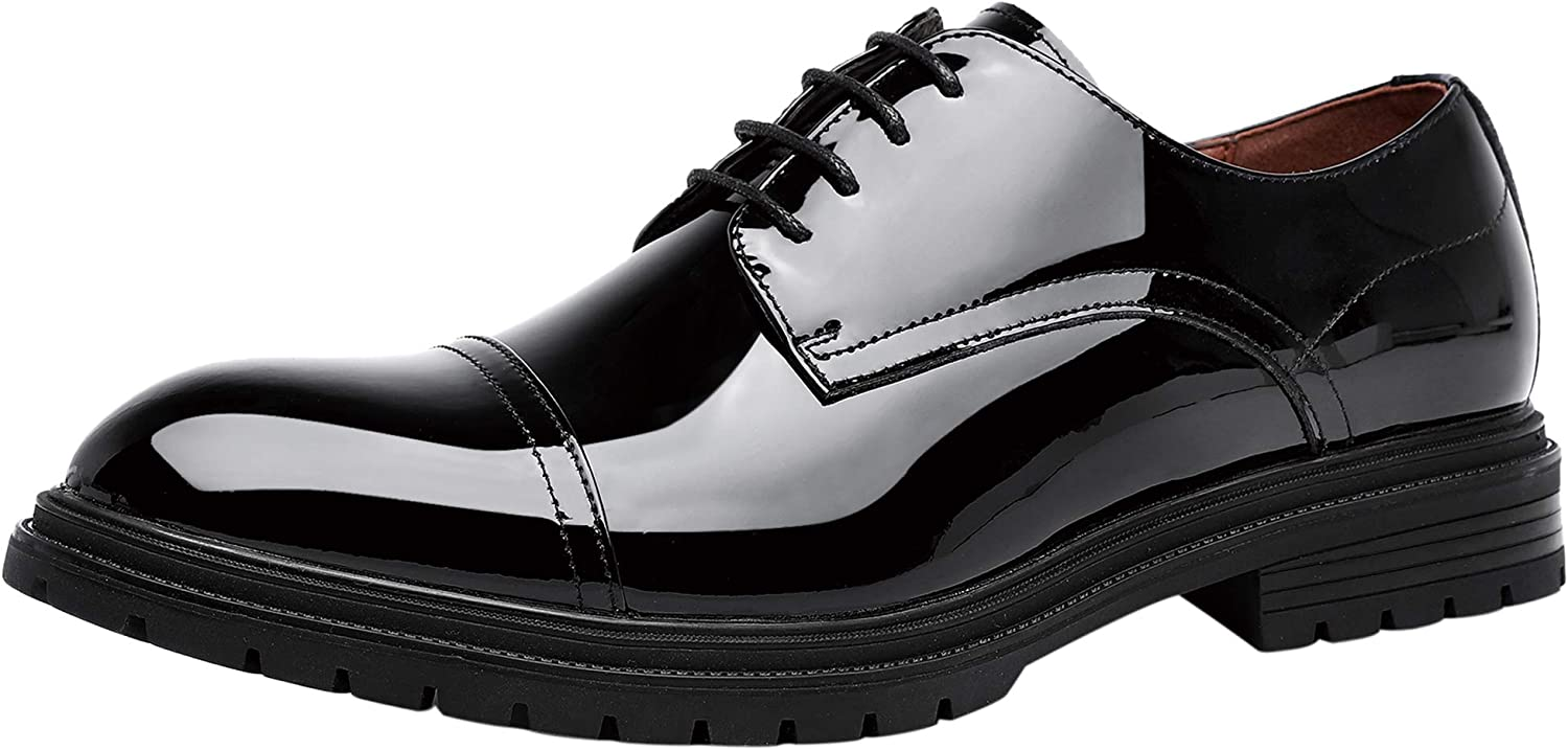 Mens Dress Shoes Fashion Lace-up Patent Leather Cap Toe Waterproof Oxford Black