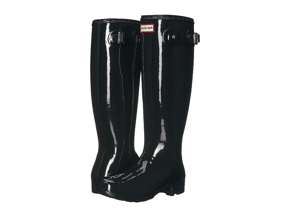 Hunter Original Tour Gloss Packable Rain Boot (Black) Women