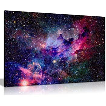 Panther Print Galaxy Stars Cosmic Space Canvas Wall Art Picture Print (24x16),Funny Italian Eating Pasta Kitchen Décor