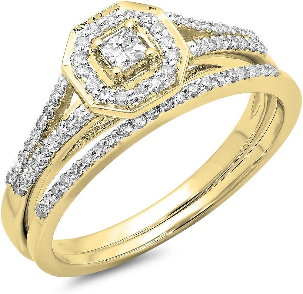 Dazzlingrock Collection 0.40 Carat (ctw) 14K Gold Princess & Round Diamond Ladies Split Shank Halo Bridal Engagement Ring Set