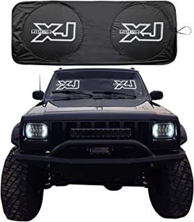 RoRex Jeep Cherokee XJ Accessories, Windshield Sunshade, Banner, Sun Shield, Fits Every Year XJ 1984-2001, Custom fit