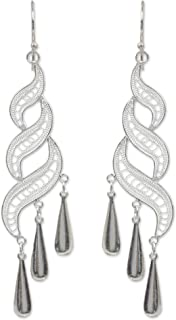 NOVICA .925 Sterling Silver Dangle Earrings with Teardrop Embellishments, Sterling Allure'