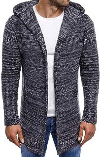 UJUNAOR Fashion Men's Hooded Solid Coat Jacket Cardigan Long Sleeve Outwear Blouse
