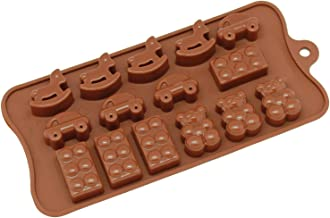 Freshware CB-614BR 15-Cavity Silicone Toy, Car, Block and Bear Chocolate, Candy and Gummy Mold