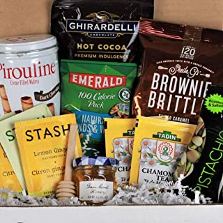 Get Well Gifts Basket Box , for Women, Men. Care Package Crate Box is Filled with Tea, Honey, Hot Chocolate Cocoa & Nuts. ...