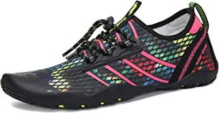 Mishansha Mens Womens Water Shoes Barefoot Quick Dry Beach Swim Diving Kayaking Surf Windsurfing Aqua Sports Black Size: 8.5 Women/7 Men