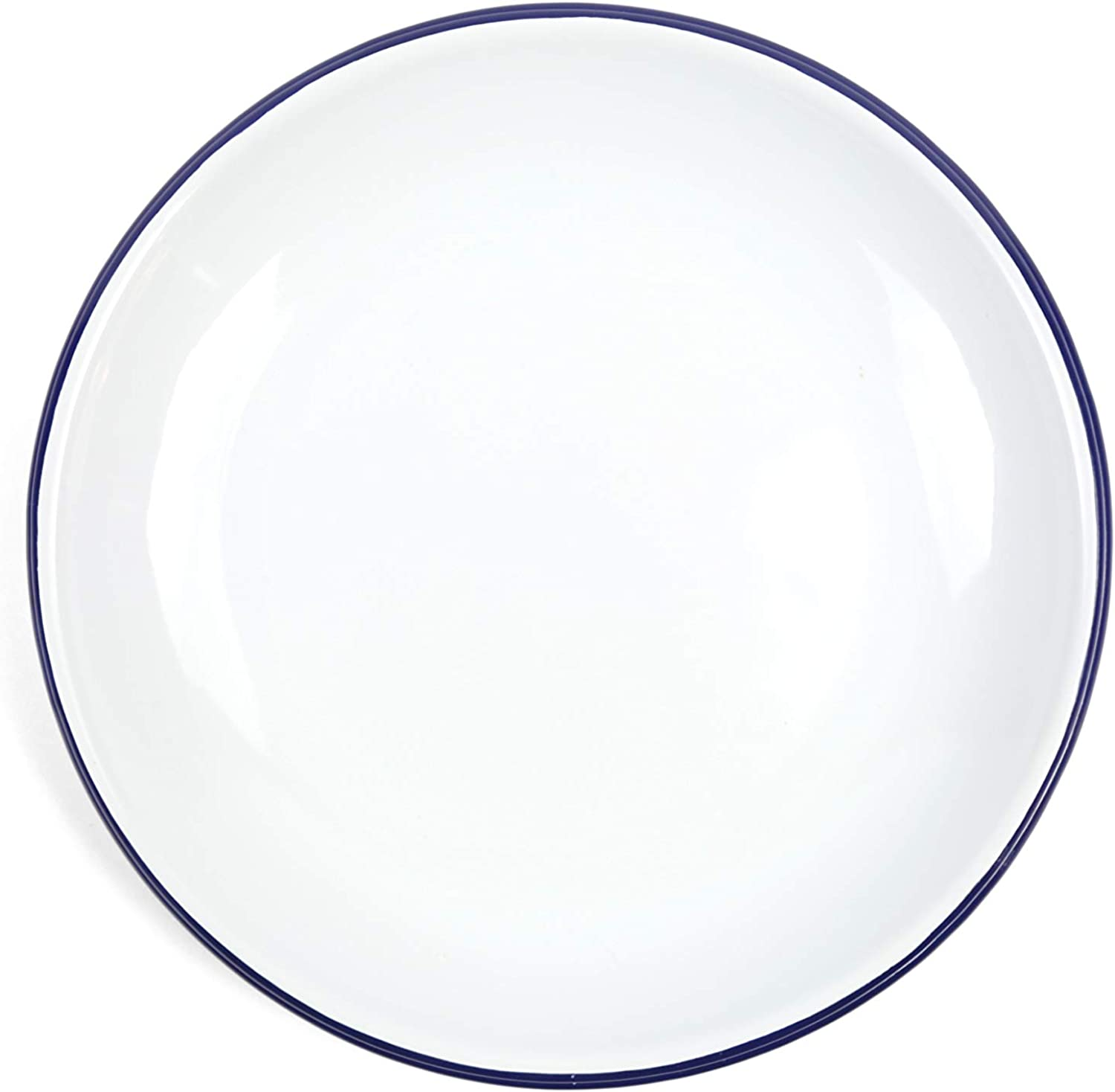 Crow Canyon Home Enamelware Heavy Gauge Dinner Coupe Plate, 10.5 , Vintage White with bluee Rim (Set of 4)