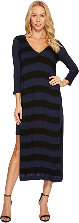 Featherweight Stripe Double V-Neck Dress