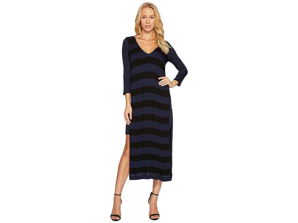 Three Dots Featherweight Stripe Double V-Neck Dress (Black/Night Iris) Women