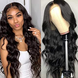 Body Wave Human Hair Wigs Lace Front Wigs 18 Inch Swiss Lace 10A Virgin Human Hair With Baby Hair Pre Plucked Natural Black Color BLY