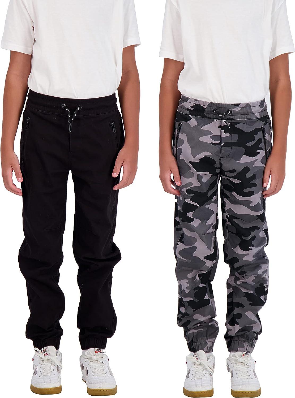 TONY HAWK Boys Indefinitely 2-Pack Memphis Mall Twill Jogger Zipper Pants Pockets Pul with