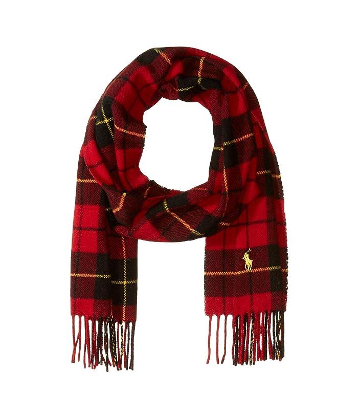 Polo Ralph Lauren  Classic Wool Tartan Scarf (Red/Black Tartan) Scarves