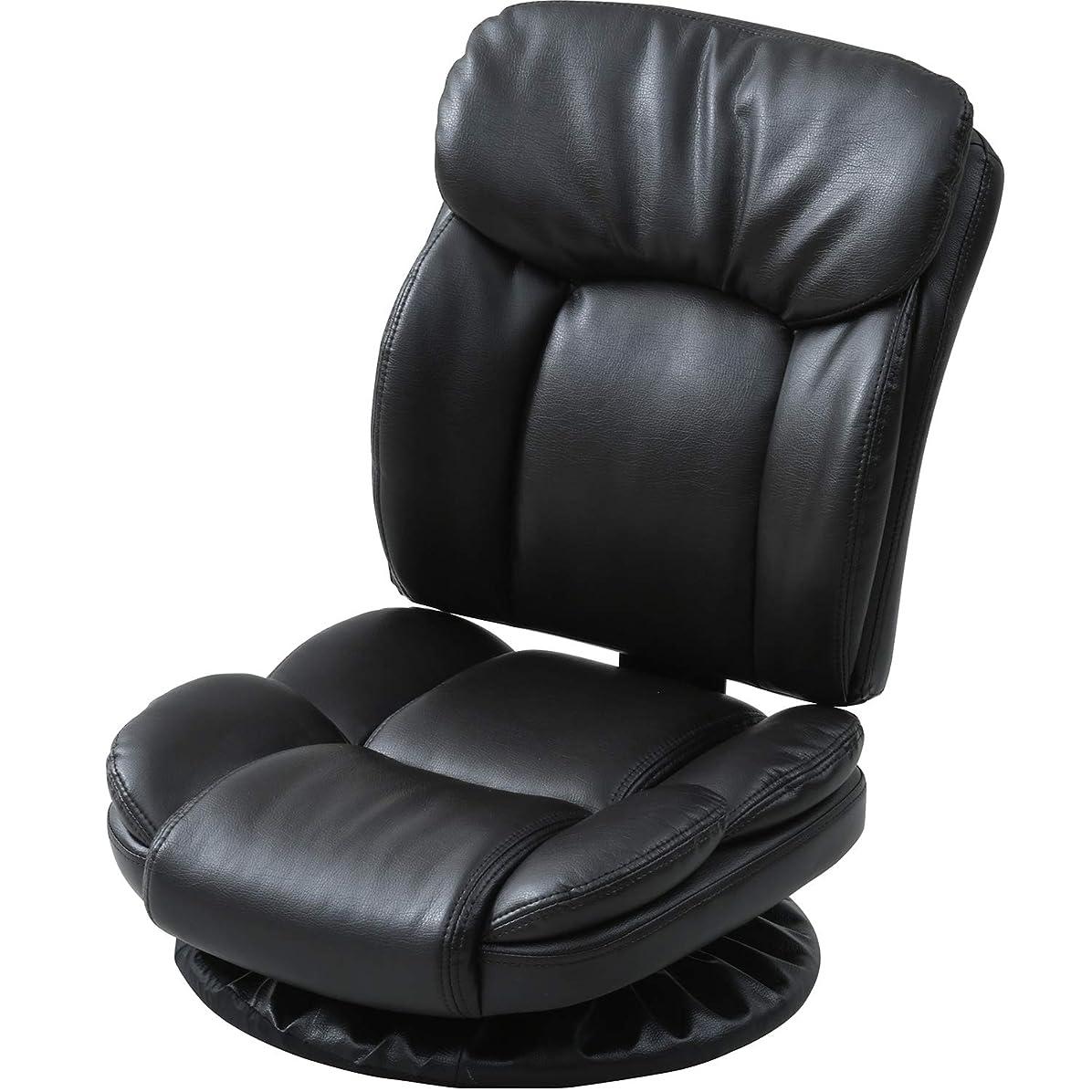 重量後退するナプキン山善 回転座椅子 幅46×奥行62×高さ62cm ふかふか レザー(合成皮革) 組立品 ダークブラウン MKL-53(DBR)
