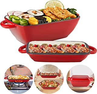 2 in 1 Enameled Cast Iron with 3.5inch Deep Saucepan, Casserole Baking Pan for Oven/Stoves/Grill, 11 Inch Square Lasagna P...