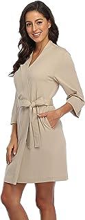 أرواب كيمونو قصيرة للنساء خفيفة الوزن منسوجة ثوب النوم ناعم التفاف ملابس النوم