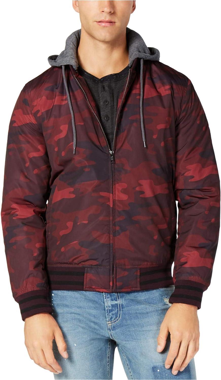 American Rag Mens Tonal Camo Bomber Jacket, Red, Medium