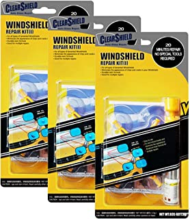 Clearshield DIY Windshield Repair Kit - Auto Glass Rock Chip Repair Kit for Star Horseshoe Bull's Eye Chips or Cracks - No Need to Replace the Whole Windshield - with Instructions (3 Pack)