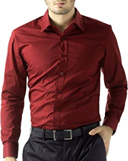Men's Red Black Solid Full Sleeve Shirts