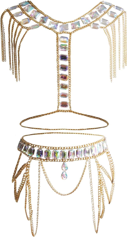 MineSign Crystal Body Chain Women Waist Vest Harness Shoulder Jewelry Kit for Party Bikini