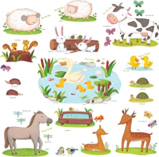 DECOWALL DW-1403 Field of Animals Kids Wall Decals Wall Stickers Peel and Stick Removable Wall Stickers for Kids Nursery Bedroom Living Room