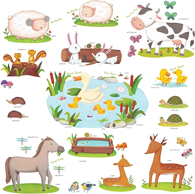 Decowall DW 1403 Field Of Animals Kids Wall Decals Wall Stickers Peel And Stick Removable Wall Stickers For Kids Nursery Bedroom Living Room