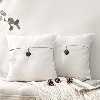 """Phantoscope Button Linen Throw Pillow Case Cushion Cover 2 Pieces,18"""" x 18"""""""