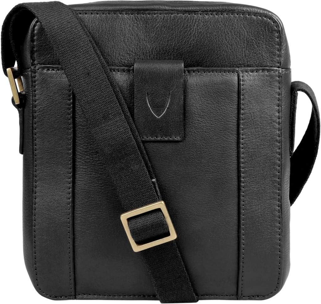 Hidesign Aiden Mini Leather Zip Top Crossbody Bag/Messenger Bag/Unisex Bag/Travel Bag (Black)