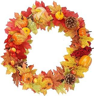 Winemana 15インチ 感謝祭 DIY リース パンプキンコレクション 装飾 DIY リース デコレーション ドアゲート 人工秋リース カボチャ 松ぼっくり メープルリーフ ベリー付き