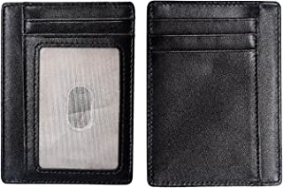Black RFID Blocking Credit Card Holder Slim Wallet Genuine Leather Minimalist Front Pocket ID Card Case for Men Women