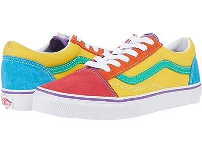 Vans Kids Old Skool (Big Kid) ((Rainbow Color-Block) Multi/True White) Girls Shoes