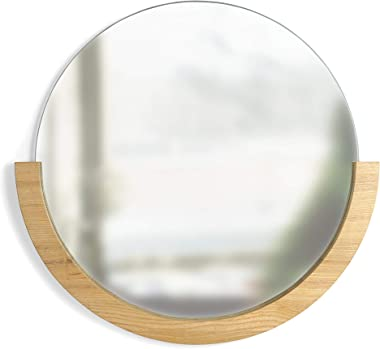 "Umbra 358778-390  Mira Wall Mirror, Decorative Mirror for Entryway, Circular Mirror with Wood Frame on the Bottom Half, Natural Finish,22.5"" Diameter x 21"" Height x 1"" Width"