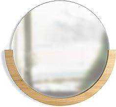 Umbra Espelho de parede Mira, espelho decorativo para entrada, acabamento natural, 57 cm D x 53 cm A x 2 cm L, natural