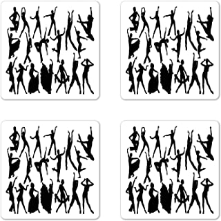 Ambesonne Black and White Coaster Set of 4, Dancers Silhouette Modern Latin Hip Hop Tango Jazz Ballroom Salsa, Square Hardboard Gloss Coasters for Drinks, Black and White
