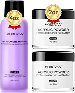 Morovan Acrylic Powder Acrylic Nail Kit with Crystal Clear Lovely Pink Acrylic Powder 2oz Professional liquid monomer 4oz ...