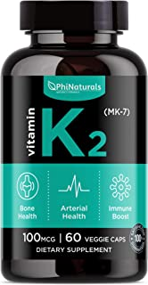 Vitamin K2 (MK7) 100mcg Vegan – [60 Count] Natto Supplement Complex – Bioactive Natural Calcium Support Bone Health Heart ...