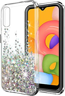 SunStory Galaxy A01 Case, Fashion with Moving Shiny Quicksand Glitter and Double Protection with PC Layer and TPU Bumper C...