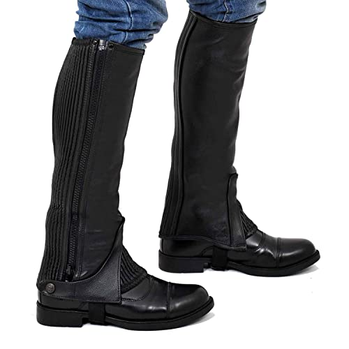 Black Horze Durable Ribbed Microfiber Suede Amara Half Chaps For Schooling Training And Pleasure Riding
