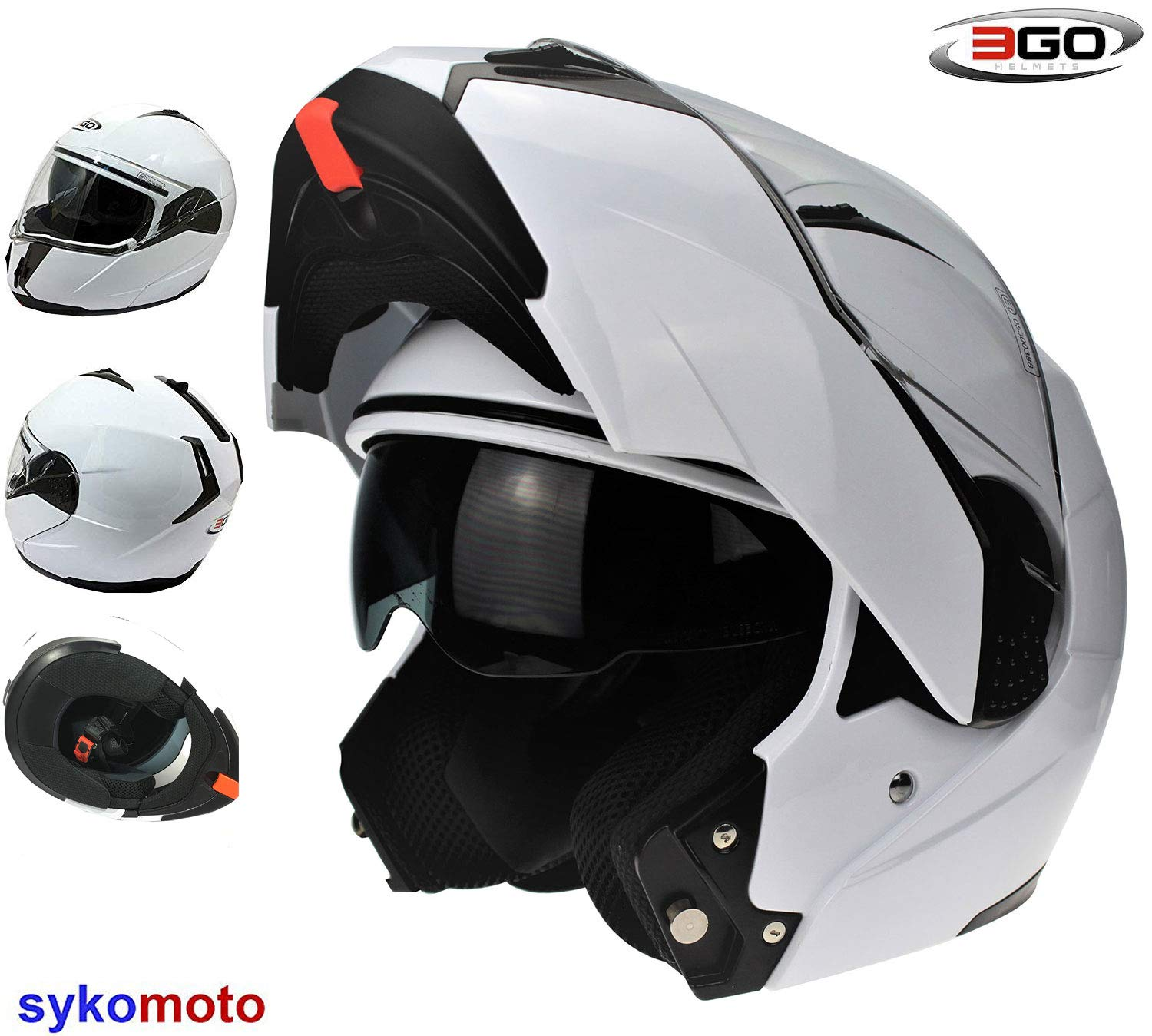 3GO NEW MODEL E335 FULL FACE MOTORBIKE MOTORCYCLE CRASH MODULAR ECE APPROVED ACU SPORTS DOUBLE VISOR ADULTS SOLID WHITE L 59-60 CM