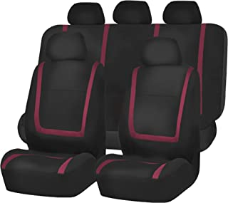 FH Group FB032115 Unique Flat Cloth Seat Covers, Burgundy/Black Color- Fit Most Car, Truck, SUV, or Van