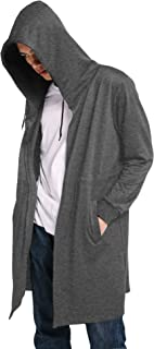 COOFANDY Men's Fashion Long Hooded Outwear Hoody Sweatshirt Teenager Hoodies Longline Cardigan